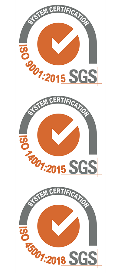 Passed ISO 9001:2015 / ISO 14001 / ISO 45001.